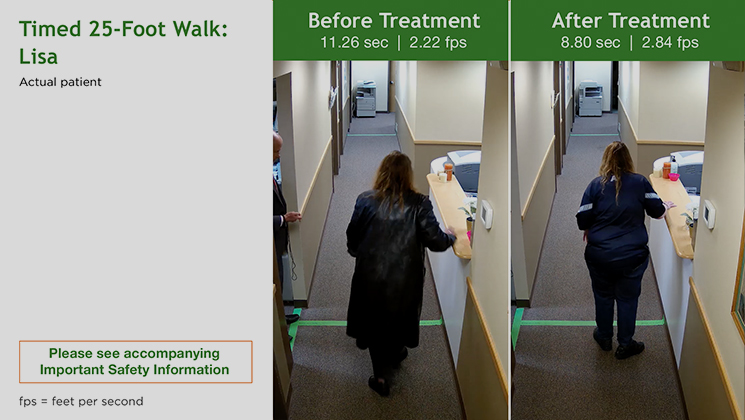 Timed 25-foot Walk results for Lisa - an actual patient