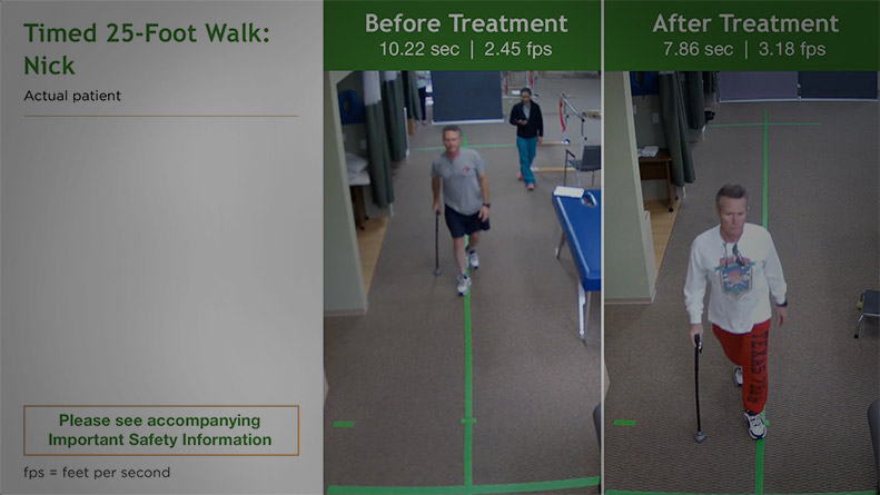 Timed 25-foot Walk results for Nick - an actual patient